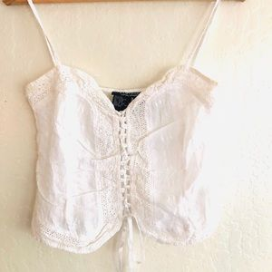 Rampage white strappy crop eyelet top size Medium